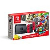 Nintendo Switch Console with Red Joy-Con and Super Mario Ody