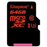 Kingston 64 GB Micro SDXC SDHC UHS-I Speed Class 3 Memory Card with Full Size SD Adapter