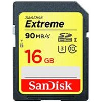 SanDisk Extreme 16 GB SDHC UHS-I U3 Memory Card, up to 90 MB/s Read (Newest Version)