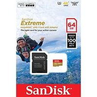 SanDisk 64 GB Extreme Micro SD Card 100MBs A1 C10 V30 UHS-I U3 with Adapter for Action Cameras (SDSQXAF-064G-GN6AA)