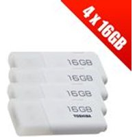 4 x Toshiba TransMemory U202 16 GB USB 2.0 Flash Drives - White (4 x THN-U202W0160E4)