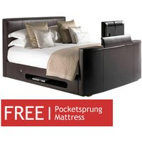 TV Beds Co New York 4FT 6 Double Leather TV Bed - Dark Brown - Free 4FT 6 Sorrento Mattress