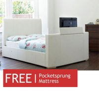 TV Beds Co New York 4FT 6 Double Leather TV Bed - Ivory - Free 4FT 6 Sorrento Mattress