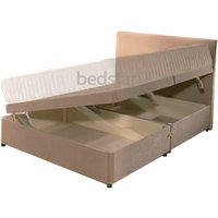 Clearance Star-Premier Decade Faux Suede 4FT 6 Double Ottoman Base Inc Headboard - Latte