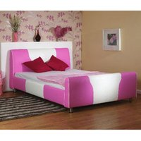 Star Collection Cheeky 4FT Small Double White & Pink Leather Bedstead