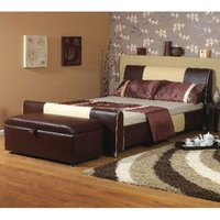 Star Collection Cappachino 4FT Small Double Cream & Tan Leather Bedstead