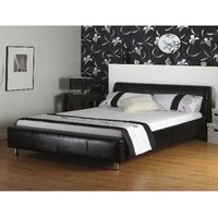 Star Collection Coal 4FT Small Double Black Leather Bedstead