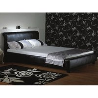 Star Collection Boswell 4FT Small Double Leather Bedstead - Black