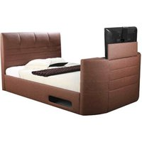 Body Impressions Miami 5FT Kingsize Leather TV Bed - Brown