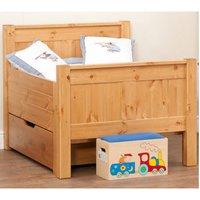 Stompa Classic Kids Starter Bed Honey Pine And Foam Mattress + Drawer