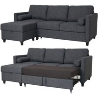 Clearance Flame The Azores Corner Sofabed - Linoso Slate