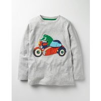 Novelty Vehicle T-shirt Grey Marl Motorcycle Boys Boden, Grey