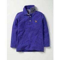 Long-sleeved Piqu Polo Shirt Blue Boys Boden, Blue