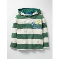 Stripy Patch Hoodie Willow Green/Ecru Boys Boden, Green