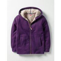 Borg-lined Zip-up Hoodie Winter Purple Boys Boden, Purple