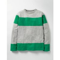 Slub Stripe T-shirt Grey Marl/Astro Green Boys Boden, Grey