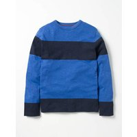 Slub Stripe T-shirt Gymnasium Blue/Navy Boys Boden, Navy