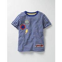 Stripy Patch T-shirt Blue Boys Boden, Blue