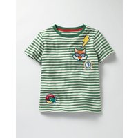 Stripy Patch T-shirt Willow Green/Ecru Boys Boden, Willow Green/Ecru