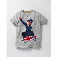 Great British T-shirt Grey Marl Skater Boys Boden, Grey