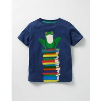 Big Appliqué T-shirt Blue Boys Boden, Blue