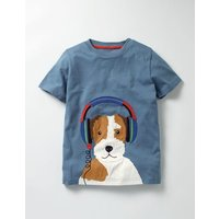 Music Appliqué T-shirt Blue Boys Boden, Blue