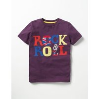 Music Appliqué T-shirt Purple Boys Boden, Purple