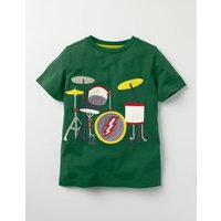 Music Appliqué T-shirt Green Boys Boden, Green