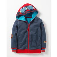 Novelty Zip-up Hoodie Navy Marl Driver Boys Boden, Navy