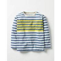 Stripy T-shirt Ecru/Space Blue Boys Boden, Yellow