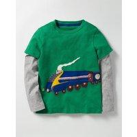 Layered Vehicle T-shirt Crocodile Green Train Boys Boden, Green