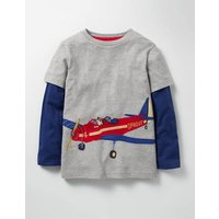 Layered Vehicle T-shirt Grey Marl Aeroplane Boys Boden, Grey