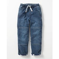 Lined Denim Pull-on Trousers Mid Vintage Boys Boden, Denim