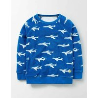 Towelling Sweatshirt Skipper Planes Boys Boden, Blue