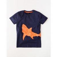 Patchwork Animal T-shirt Navy Shark Boys Boden, Navy