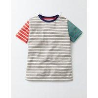 Short Sleeve Stripe T-Shirt Grey Marl/Ecru Stripe Boys Boden, Grey