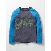 Graphic Raglan T-shirt Grey Boys Boden, Grey