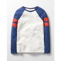 Retro Sports Stripe T-shirt Blue Boys Boden, Blue