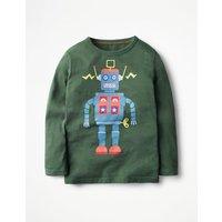 Long-sleeved Graphic T-shirt Wellington Green Robot Boys Boden, Green