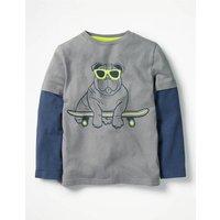 Layered Party Animal T-shirt Grey Boys Boden, Grey
