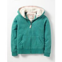 Shaggy-lined Hoodie Holly Green Marl Girls Boden, Green