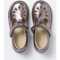 Leather T-Bar Flats Silver Girls Boden, Silver