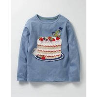 Big Appliqu T-shirt Blue Girls Boden, Blue