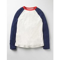 Raglan T-shirt Navy Girls Boden, Navy