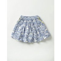Twirly Printed Skirt Washed Bluebell Blue Woodland Girls Boden, Blue