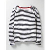 Breton T-shirt Ecru/School Navy Girls Boden, Navy