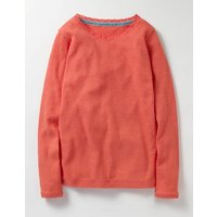 Supersoft Pointelle T-shirt Red Girls Boden, Red