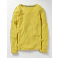 Supersoft Pointelle T-shirt Sweetcorn Yellow Girls Boden, Yellow