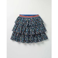 Printed Ruffle Skirt Navy Ditsy Folk Floral Girls Boden, Navy