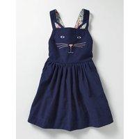 Animal Dungaree Dress Navy Girls Boden, Navy